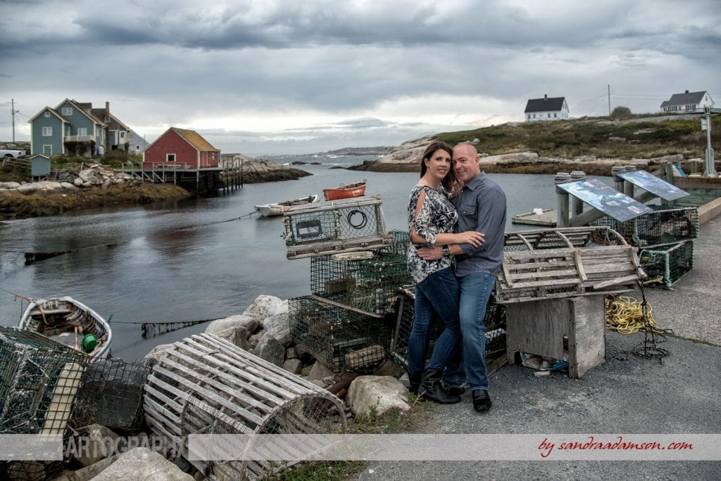 peggys cove, ns, nova scotia, engaged, engagement, photography, photographer, ocean, water, sea, rocks, ring, love, couple, lobster, trap