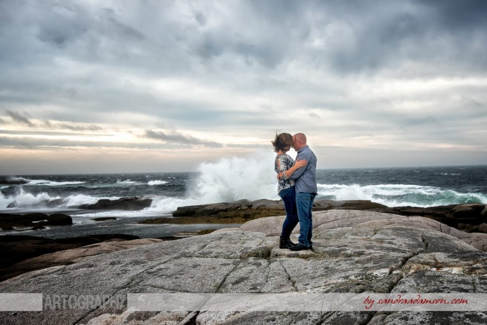 peggys cove, ns, nova scotia, engaged, engagement, photography, photographer, ocean, water, sea, rocks, ring, love, couple, wave