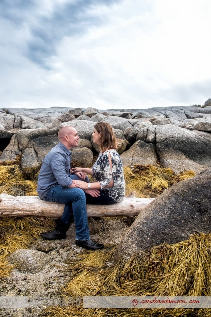 peggys cove, ns, nova scotia, engaged, engagement, photography, photographer, ocean, water, sea, rocks, ring, love, couple, log