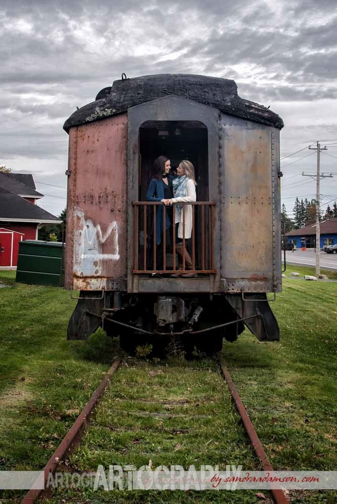 musquodoboit, ns, nova scotia, train, museum, railroad, tracks, sneakers, ring, engaged, engagement,photography, photographer, halifax, hrm,love, couple, LGBT, lesbian, same sex, station, car,