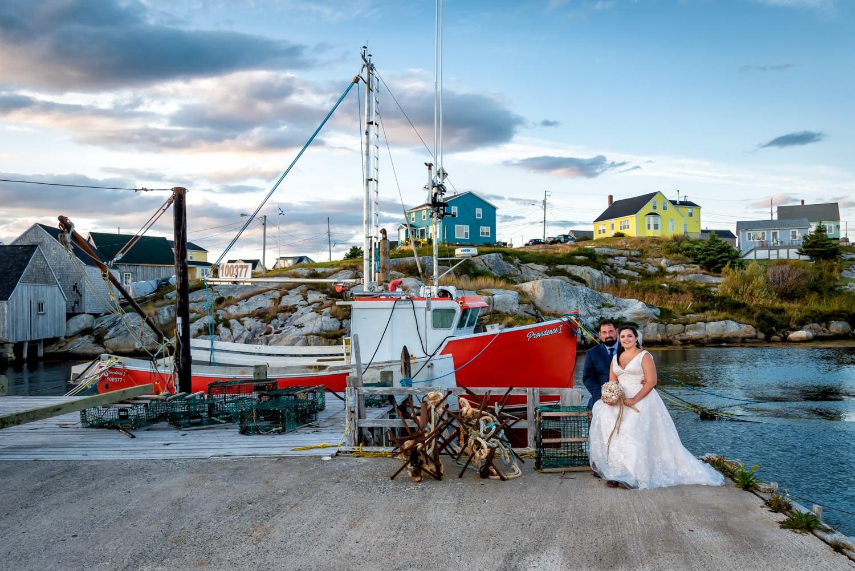 halifax ns wedding photographer, halifax wedding photographers, halifax engagement photographer, engaged, sandra adamson studios, peggys cove wedding, ocean wedding, fisherman boat, wharf, bride, groom,