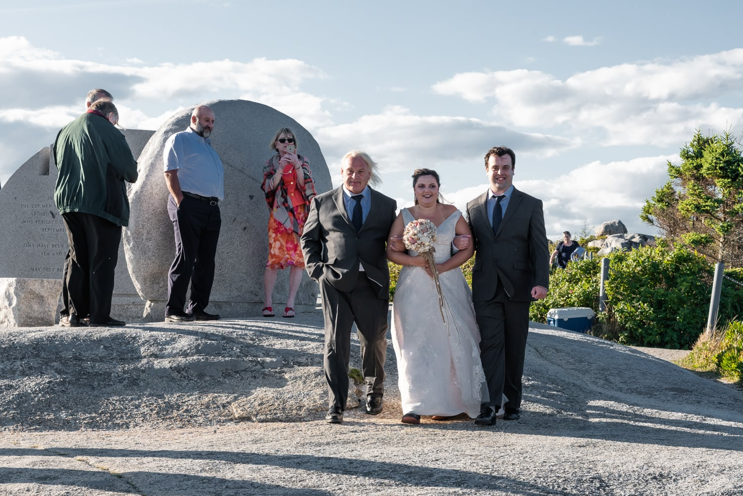 swiss air monument, wedding ceremony, bride, father of the bride, walking up the aisle, ocean wedding