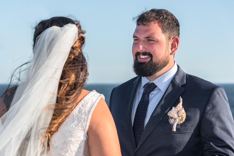 swiss air monument, bride, groom, wedding ceremony, ocean wedding