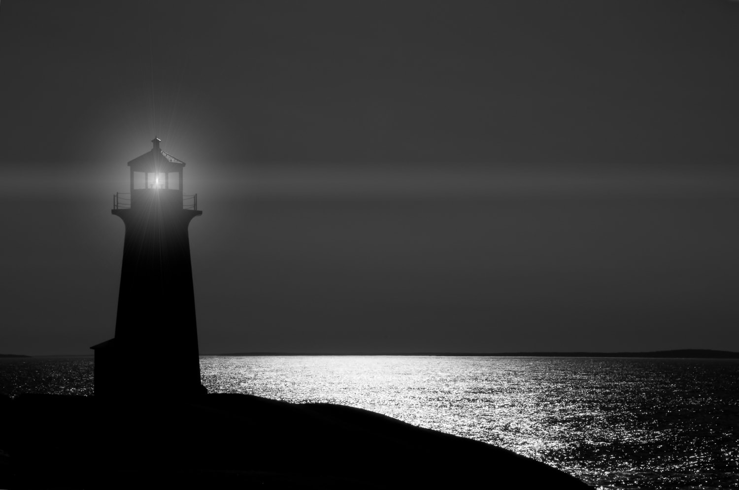 halifax photographer, peggys cove lighthouse, night photography, ocean, sea, lighthouse, nova scotia, fine art