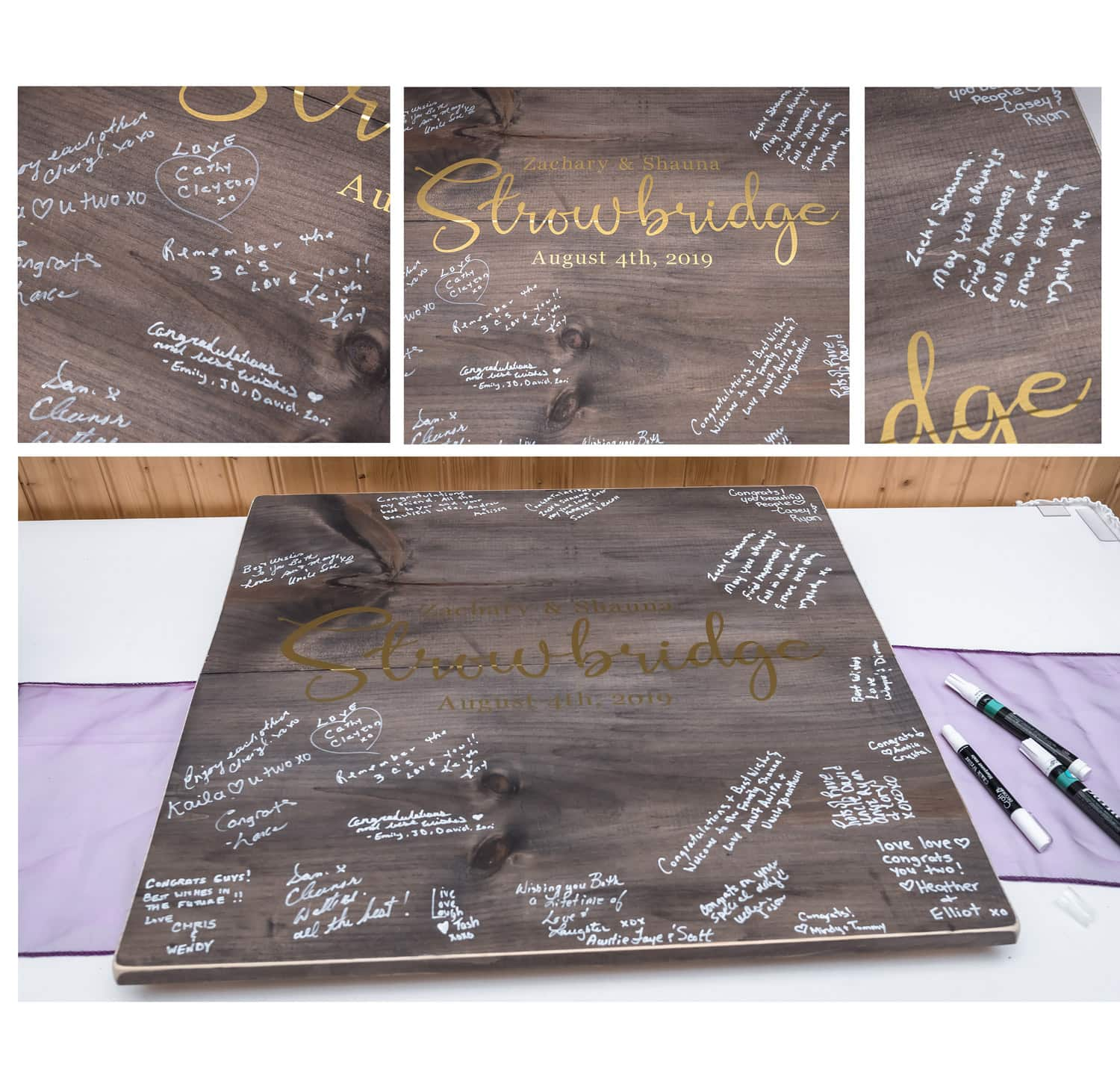 wooden stained wedding guest book sign for guests to sign with markers displayed at a White Point Beach Resort wedding