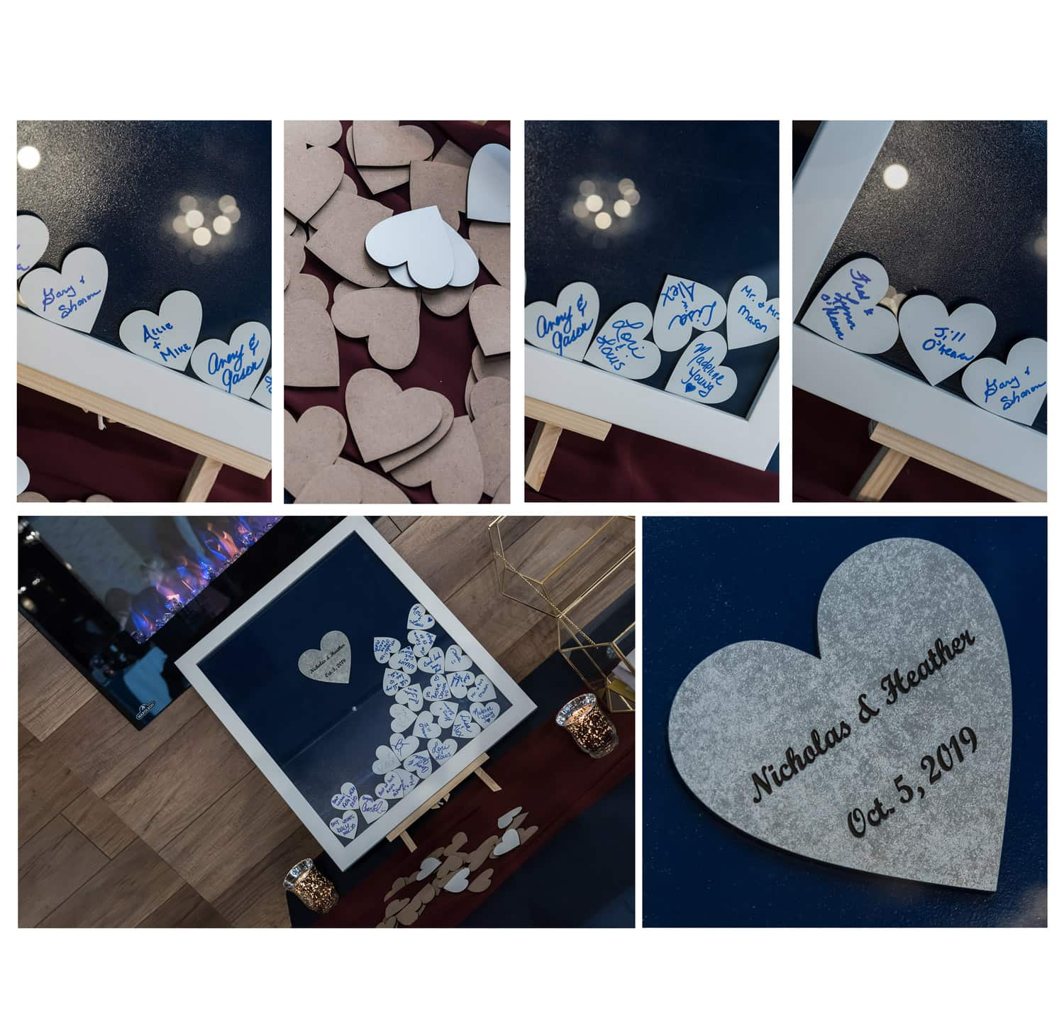 a glass frame style wedding guest book with wooden hearts for wedding guests to sign and place within the frame