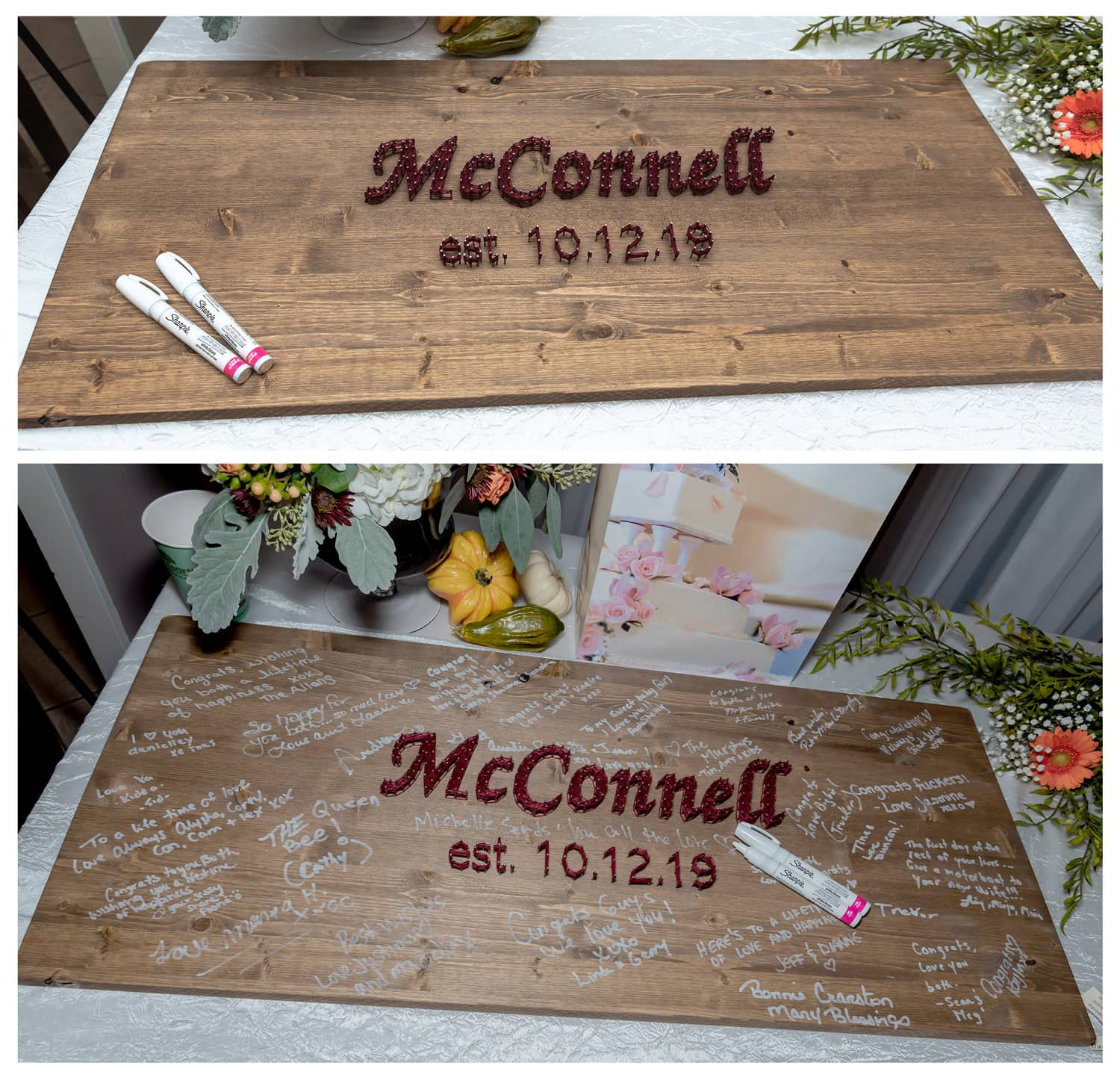 a wooden wedding guest book sign for guests to sign with raised surname lettering displayed at a wedding at the Digby Pines Resort