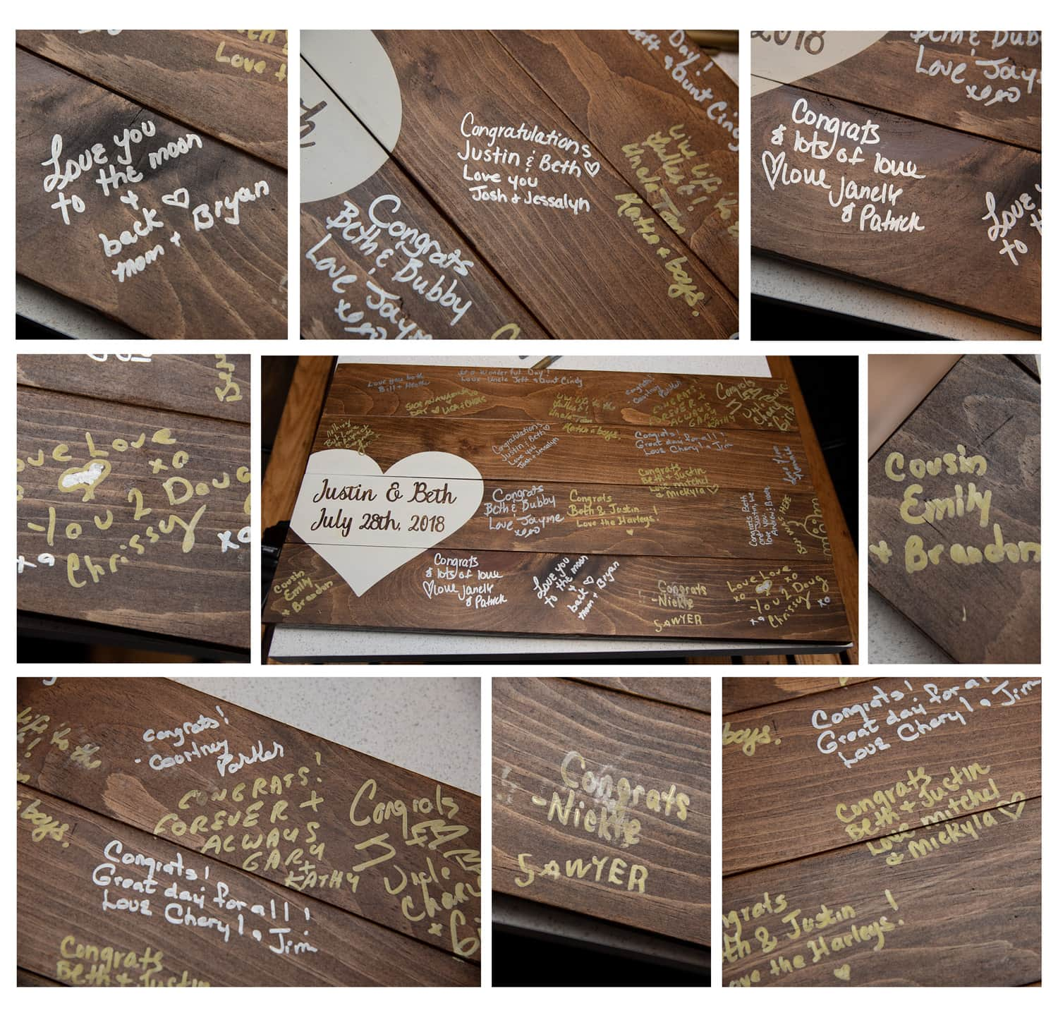 a wooden wedding guest book with a painted heart for wedding guests to sign on the Party Boat in Halifax