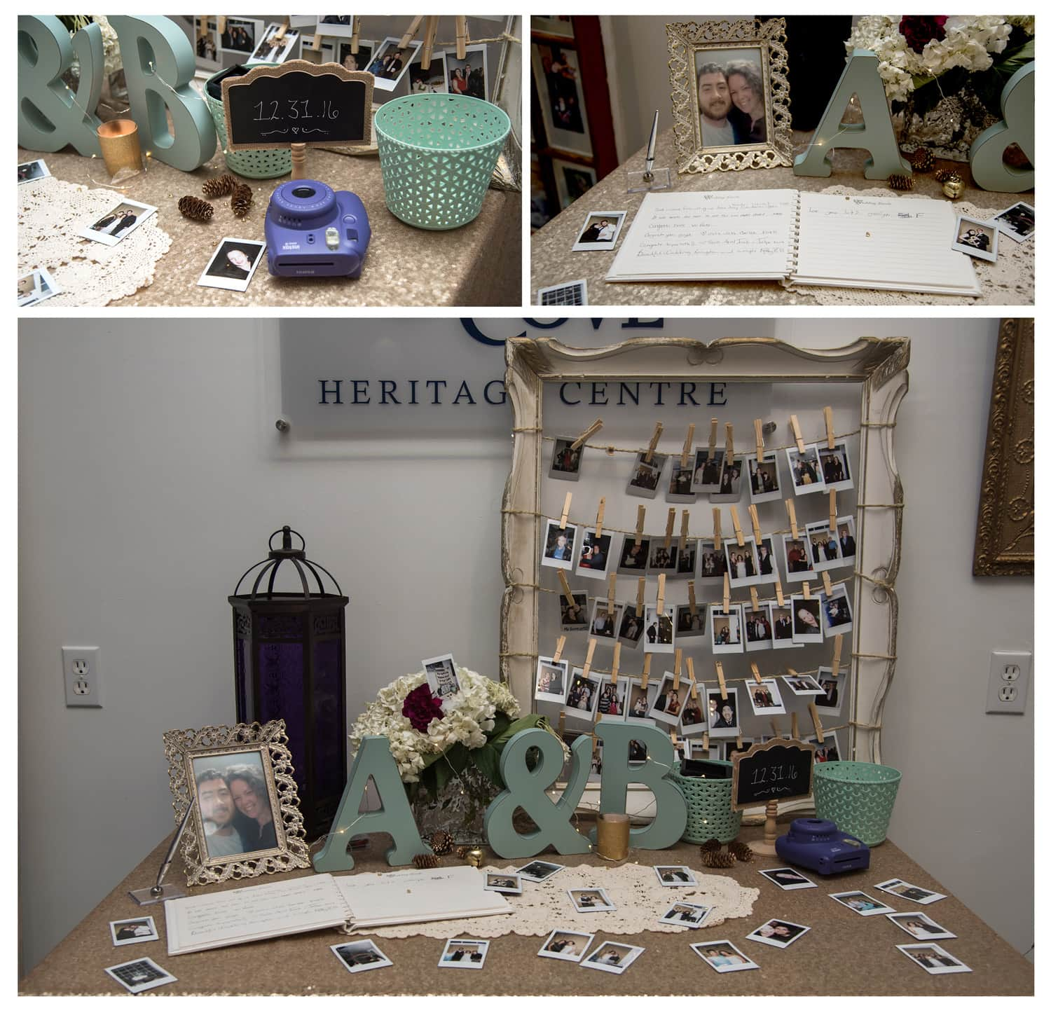 a poloroid guest book for wedding guests to take pictures of themselves and sign