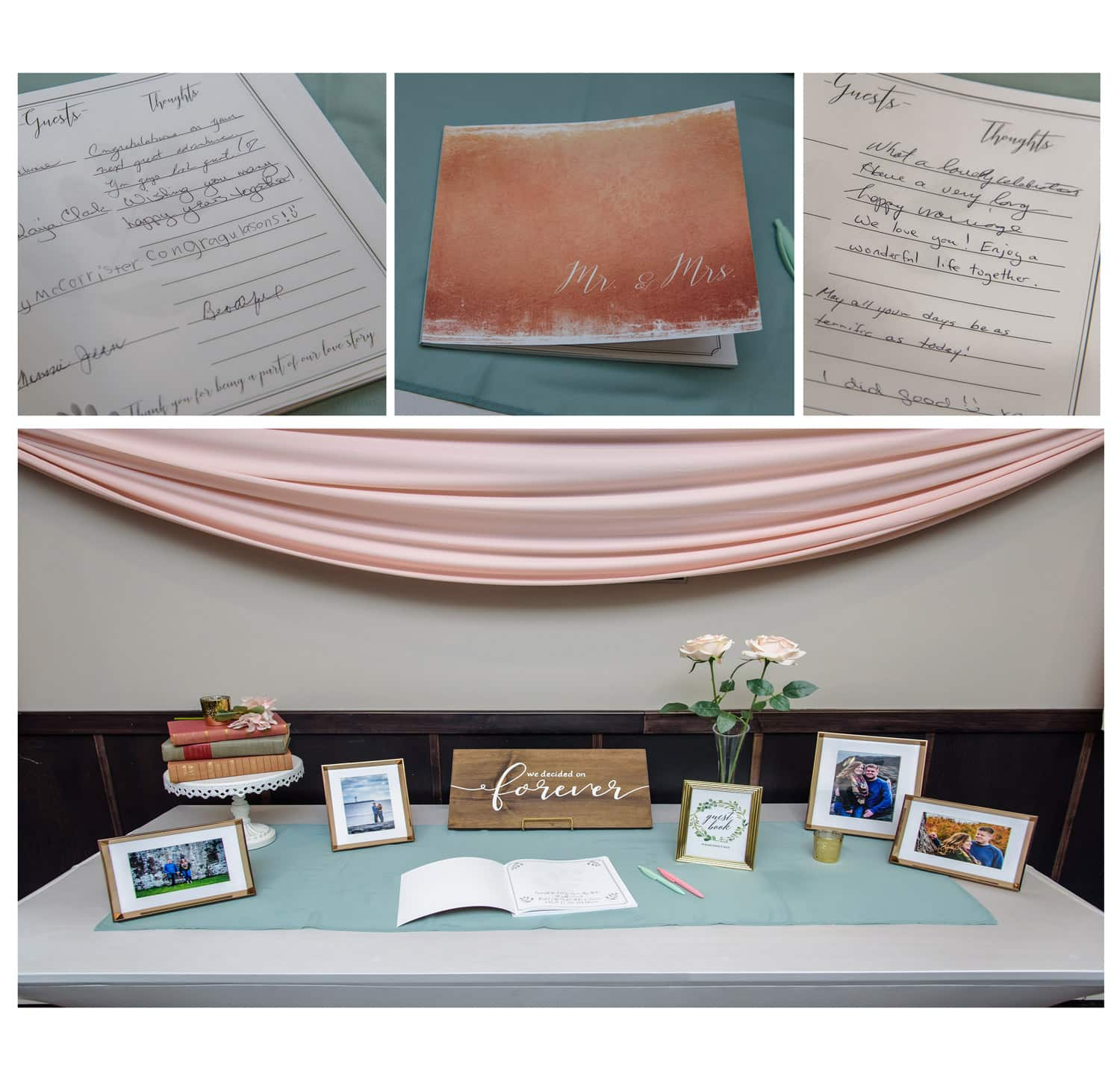 a photo guest book for wedding guests to sign filled with engagement photos of the bride and groom
