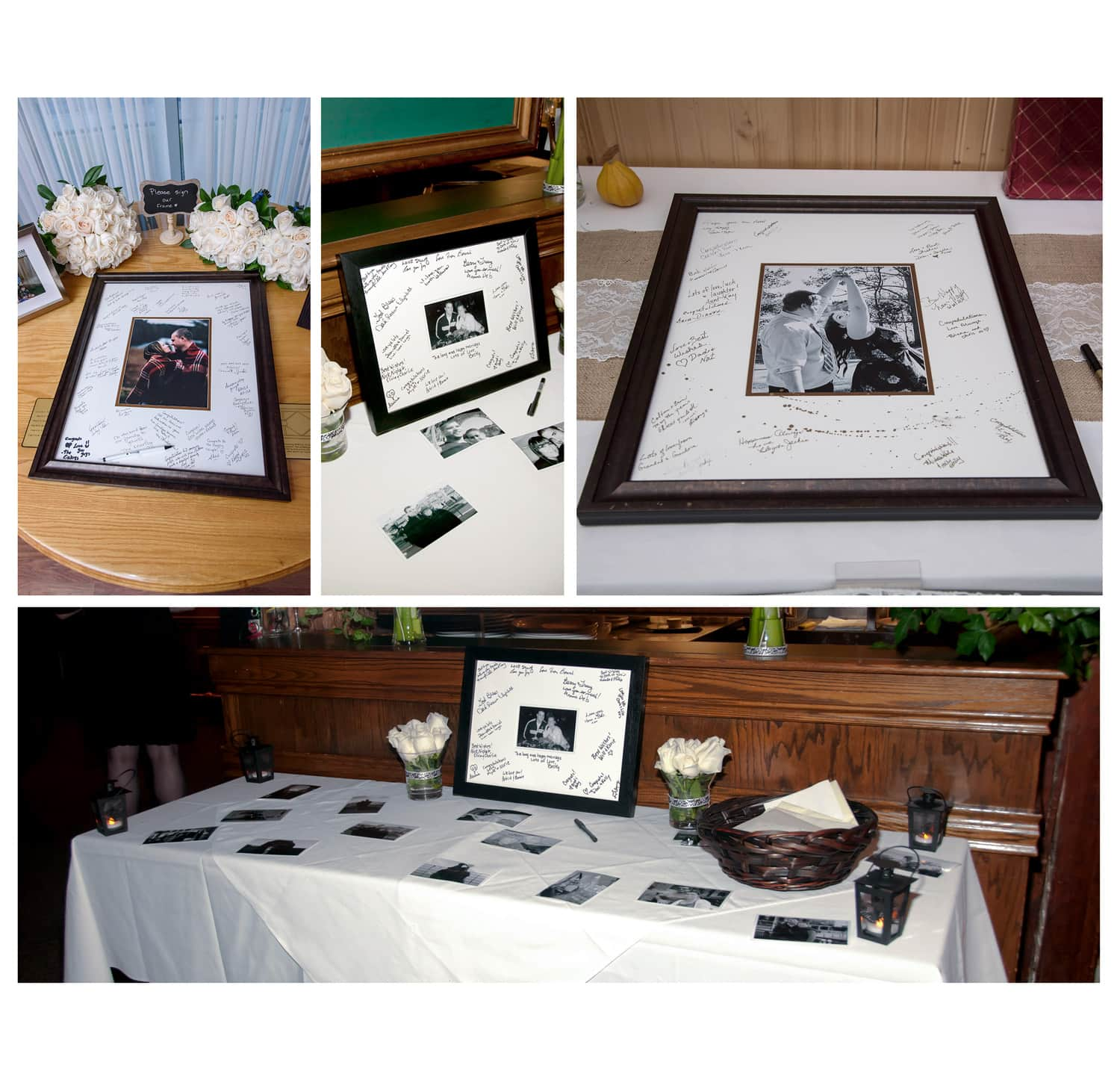 a glass frame style wedding guest book for wedding guests to sign